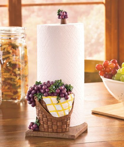 Vibrant Purple Grapes Bunches Cluster Motif Vineyard Wine Grapevine Collector Theme Picnic Basket Whimsical Paper Towel