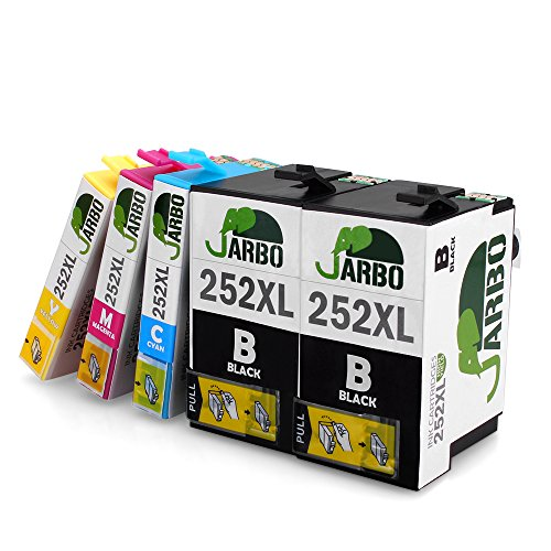 jarbo-1-set-1-black-replacement-for-epson-252-ink-cartridge-high-yield-5-packs2-black-1-cyan-1-magen