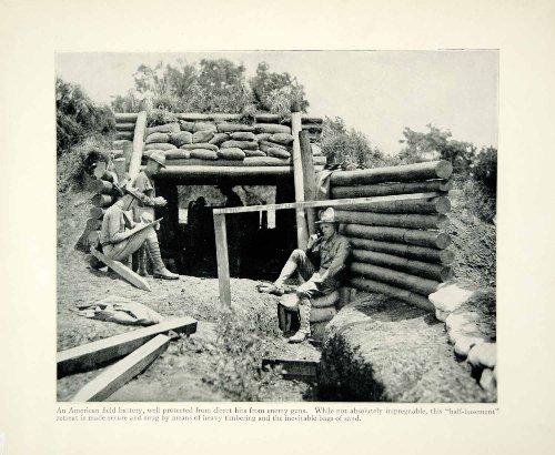 1934 Print WWI US Army Field Artillery Battery Trench Warfare Western Front - Original Halftone Print