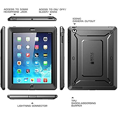 iPad 2 Case, SUPCASE [Heavy Duty] Apple iPad Case [Unicorn Beetle PRO Series] Full-body Rugged Hybrid Protective Case Cover with Built-in Screen Protector for the New iPad 2 (2nd Generation), Dual Layer Design + Impact Resistant Bumper (Black/Black) from