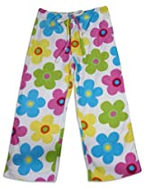 Bee Posh - Girls Daisy Cozy Fleece Pajama Pant, White, Multi 25516-X-Large