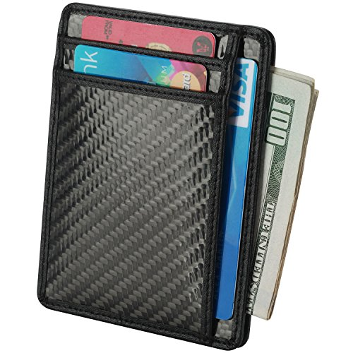 Minimalist Slim Wallet Carbon Fiber RFID Front Pocket Wallet Credit Card Holder (Rfid Wallet Carbon compare prices)