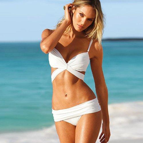 [XXF Victoria 's Secret Sexy solid triangle bikini swimsuit steel prop gather swimsuit split hot spring swimwear , White ,] (Victoria Secret Swimming Costume)
