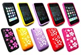 Emartbuy® Apple Iphone 3G / 3GS Bundle Pack of 5 Floral Silicon Skin Cover/Case - Floral Red, Floral Yellow, Floral Black, Floral Hot Pink & Floral Purple