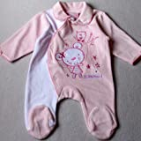 NEWBORN Baby Girls Pretty Clothes - NB months - Gorgeous Pink and White OWL & LITTLE MOUSE Velour Sleepsuit Babygrow
