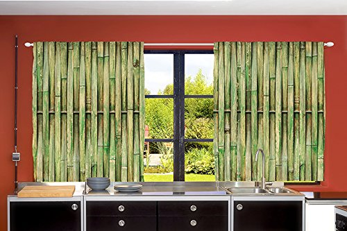 Curtains Ideas country home curtains : Ambesonne Country Home Decor Collection, Bamboo Lines Trees Woodsy ...
