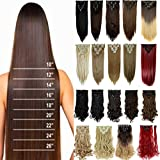 S-noilite 8PCS/SET Full Head Clip in Hair Extensions 140Grams Thick Real Natural Synthetic Hairpiece(26inches-straight, Medium Brown)