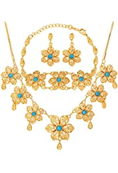 U7 18K Gold Plated High Quality Synthetic Turquoise Stone Necklace Earrings Flower Chain link Gold Plated Bracelet Bohemia Jewelry Set