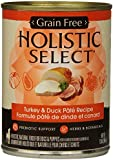 Holistic Select Natural Grain Free Wet Canned Dog Food, Turkey and Duck Recipe, 13-Ounce Can (Pack of 12)