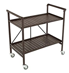 Cosco Products 87501SBDE Outdoor/Indoor Folding Serving Cart, Sandy Brown Texture