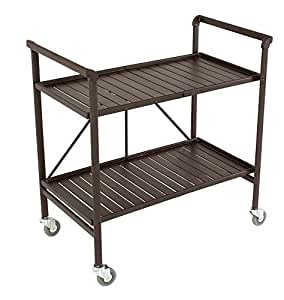 Indoor or Outdoor Folding, Metal, Rolling Serving Cart, Brown