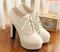 2015 of Europe and the United States with High Heeled Shoes Retro Coarse Lace Shoes