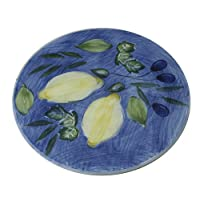 Hand Painted Italian Ceramics, Lemon/Olive Hors d'oeuvres plate,13 square