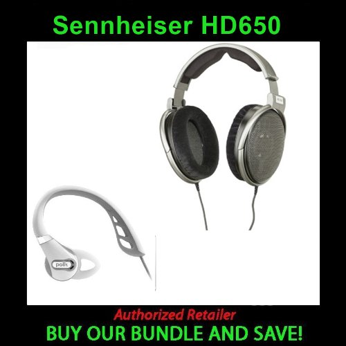 Sennheiser Hd 650 Lightweight Open-Air Headphone New With Polk Audio Ultrafit 500 Headphones - White (Ultrafit 500Wht)