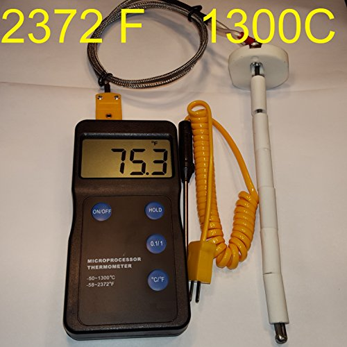 Kiln Oven Furnace Digital pyrometer F,C for Pottery Ceramic Glass fusing Annealing PMC Metal Clay Beads Enameling Forges Sensor Probe Thermometer Thermocouple 2372 Fahrenheit (The Glass Furnace compare prices)