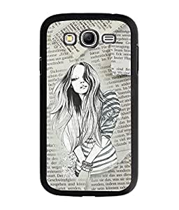 Fuson Newspaper Pattern Girl Back Case Cover for SAMSUNG GALAXY A7 - D3715