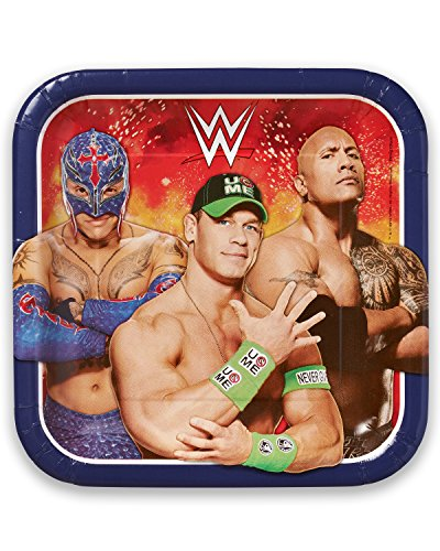 "American Greetings WWE 9"" Square Plate (8 Count)"