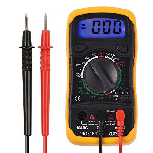 Proster Multimetro Digitale, Mini Multimetro Tester Misuratore Digitale Auto Range Test DMM DC AC Corrente Voltaggio Resistenza con LCD Retroilluminazione
