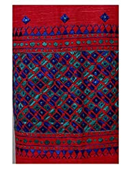 Red Phulkari Khadi Kurta Fabric