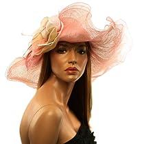 """Summer Kentucky Derby Side Flip 7"""" Brim Layer Floppy Flower Feathers Hat Pink"""