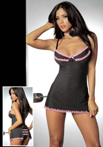 Dreamgirl Women's Candy Stripe Babydoll with Panty, Black, Medium