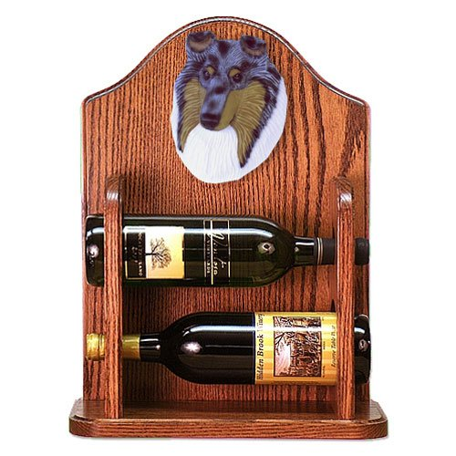 BLUE MERLE Collie Wine Rack 2 Bottle Design in Dark Oak by Michael Park hot sale european style resin phoenix wine rack high end home accessories bar wine rack wholesale