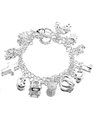 ANDI ROSE Fashion Jewelry 925 Sterling Silver Plated Pendants with Rhinestones Bangles Bracelets