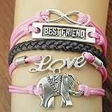 Handmade-Infinity-Silver-8-Elephant-Leather-Bracelet-Wristband