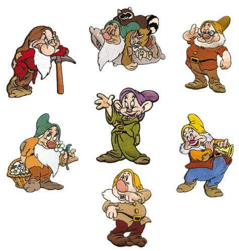 The 7 Dwarfs Of Walt Disney Snow White And The 7 Dwarfs Embroidered Iron On Applique Patches Lot Of 7