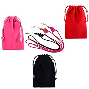 SOSAM 6-IN-1 Detachable Phone Neck Lanyard With Microfiber Sleeve Pouch Cover Case Pouch (Red+ Rose+Black)