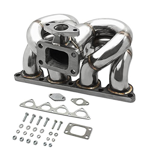 Honda D-Series Stainless Steel T3 Turbo Manifold Ram Horn Style with Wastegate Port - D15 D16 (D Series Turbo Manifold compare prices)