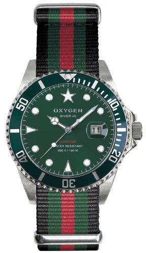 Oxygen EX-D-CAM-40-BLGNRE - Reloj analógico de cuarzo unisex, correa de nailon multicolor (agujas luminiscentes)