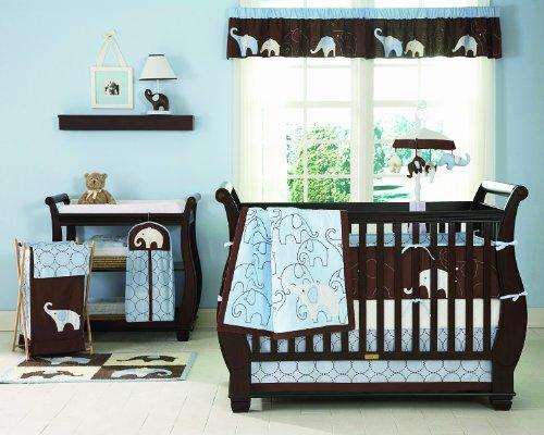 Carter's Elephant 4 Piece Crib Bedding Set, Blue