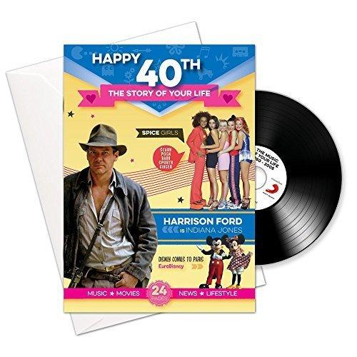 Happy 40th storia della tua vita 24pagine di auguri e scaricare Musica con 15successi della tua vita