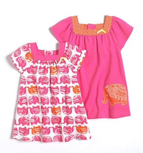 Offspring Infant Girls Two Pack of Elepnant Themed Dresses Nb 24 Months 18 months