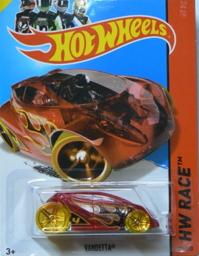 Hot Wheels 2014 Hw Race X-Raycers Ruby Red Vandetta w/ Yellow Tires 174/250