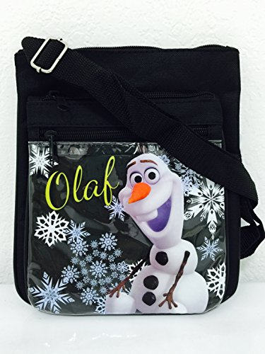 Disney Frozen Olaf Two Layers Flippable Shoulder Bag with Adjustable Shoulder Strap (Black)