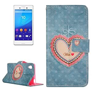 Heart Pattern Cross Texture Flip Leather Case with Holder & Card Slots & Wallet for Sony Xperia M4 Aqua