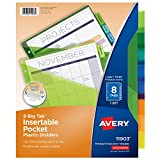 Avery Big Tab Insertable Plastic Dividers with Pockets, 8 Multicolor Tabs, 1 Set (11903)