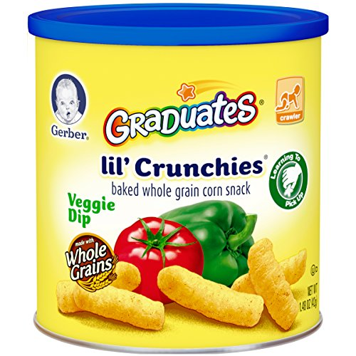 Gerber Graduates Lil' Crunchies, Veggie Dip, 1.48-Ounce Canisters (Pack of 6) (Lil Crunchies Veggie Dip compare prices)