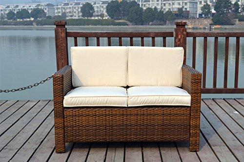 New-Twin-Rattan-Wicker-Conservatory-Outdoor-Garden-Furniture-Set-Light-mixed-brown