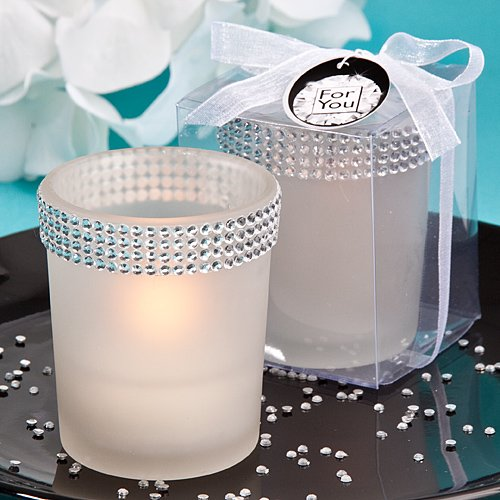 """""""Bling Collection"""" White Candle Holders With Rhinestones , 25"""