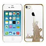 Kwmobile® Hard case City design (New York) for Apple iPhone 4 / 4S in Gold Transparent