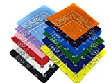 12 Color Pack Double Sided Print Paisley Bandana Scarf, Head Wrap