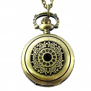 Youyoupifa Lady's Light Copper Stainless Steel Case White Dial Necklace Pendant Pocket Watch