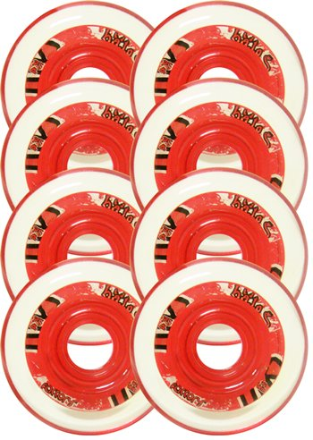 76mm 76a INDOOR HOCKEY Wheels 8-pack FACTORY HALO RED Inline Skate