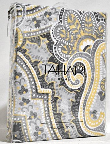 Tahari Luxury Cotton Blend Shower Curtain Yellow Gray Paisley On White Izmir Ebay