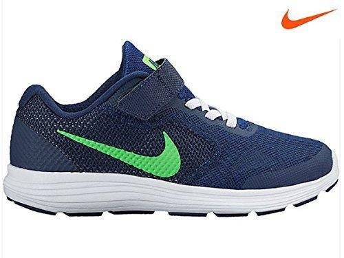 Nike Revolution 3 Psv Scarpe da Corsa, Bambini e Ragazzi, Multicolore (Deep Royal Blue/Vltg Green/Wht), 33