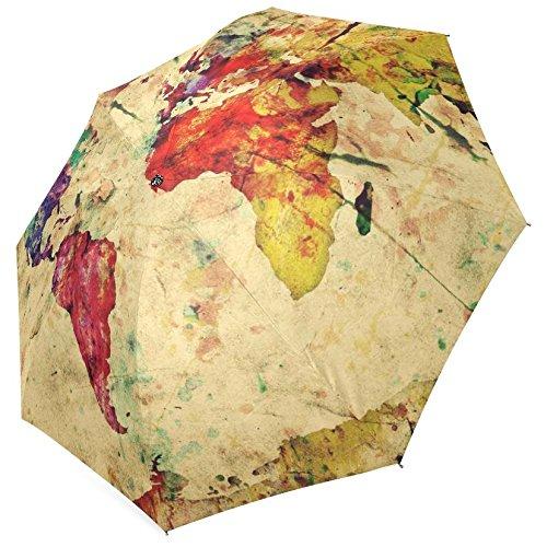 InterestPrint Vintage Map of the World Fold Umbrella 0