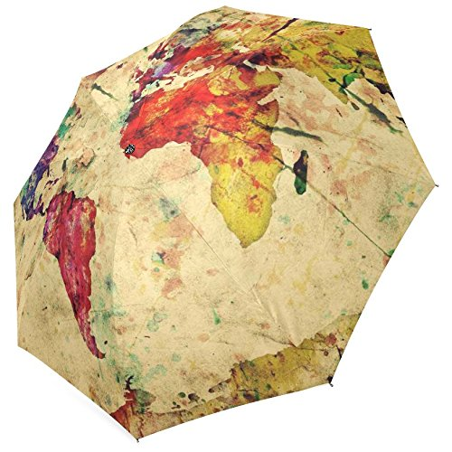 InterestPrint Vintage Map of the World Fold Umbrella 0